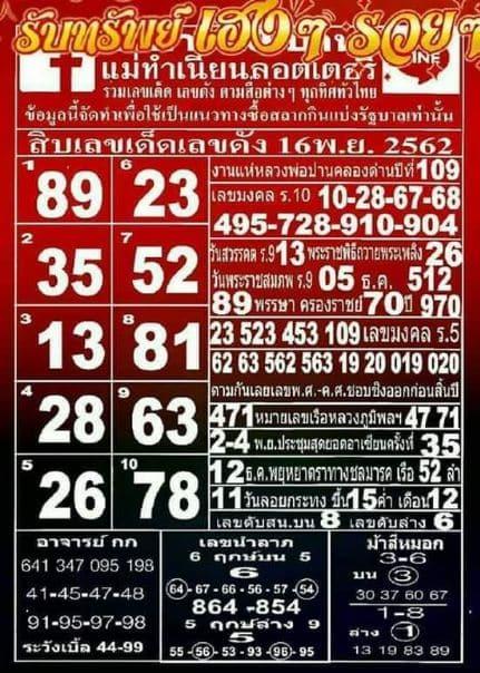 เลขแม่ทำเนียน งวดวันที่ 16/11/62
