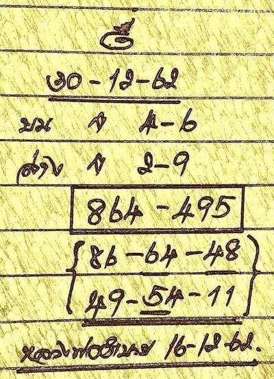 หวยหลวงพ่อสูตรทำมือ งวดวันที่ 30/12/62