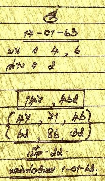 หวยหลวงพ่อสูตรทำมือ งวดวันที่ 17/01/63